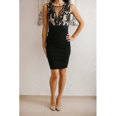 71ecaab930 Czarna ołówkowa sukienka wieczorowa midi z głębokim dekoltem z cekinami i  siateczką