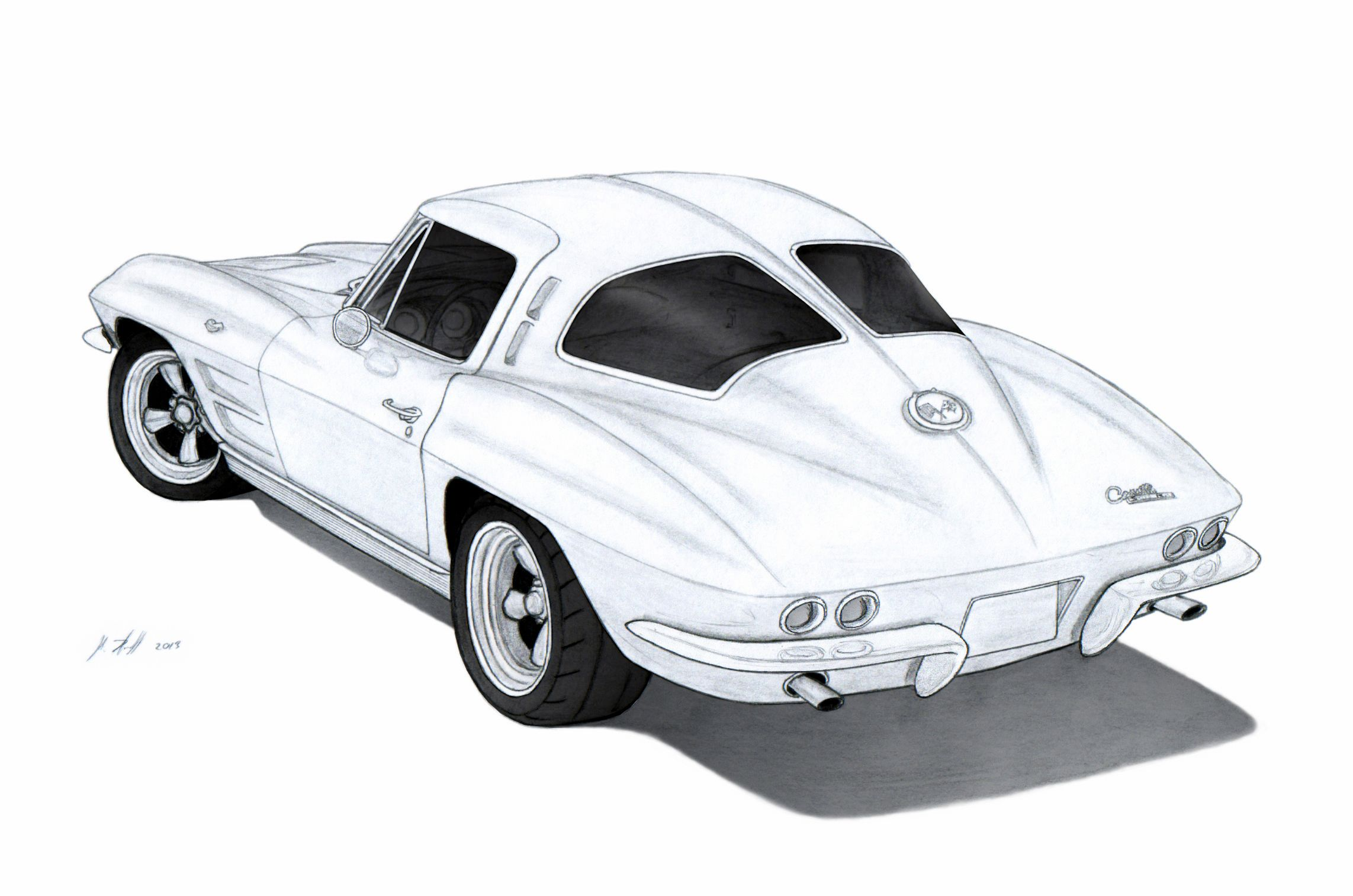 1963 Chevrolet Corvette Sting Ray (C2) Drawing by Vertualissimo ...