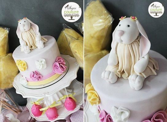 bunny cake topper for little girls birthday party by Sugar Couture
