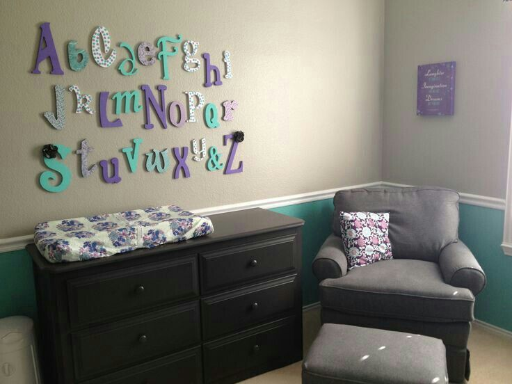 Entrancing Design Baby Nursery Ideas Features White Purple Colors Fetching  Come With Grey Teal Wall Paint And