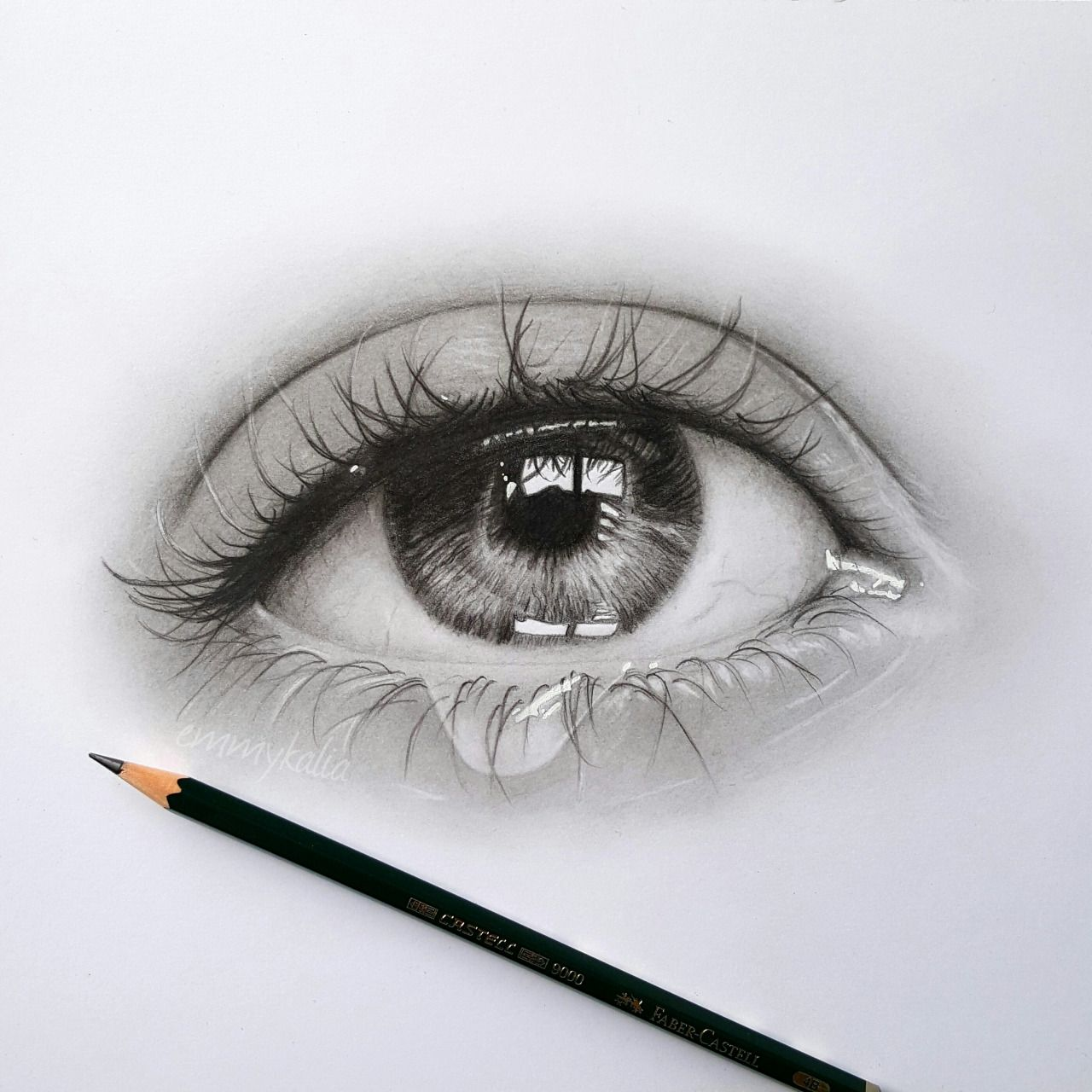 Emmy Kalia Drawing A Realistic Eye With A Teardrop Faber