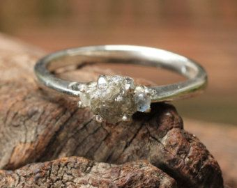Rough diamond ring in polished silver band with side set moonstone 81.33