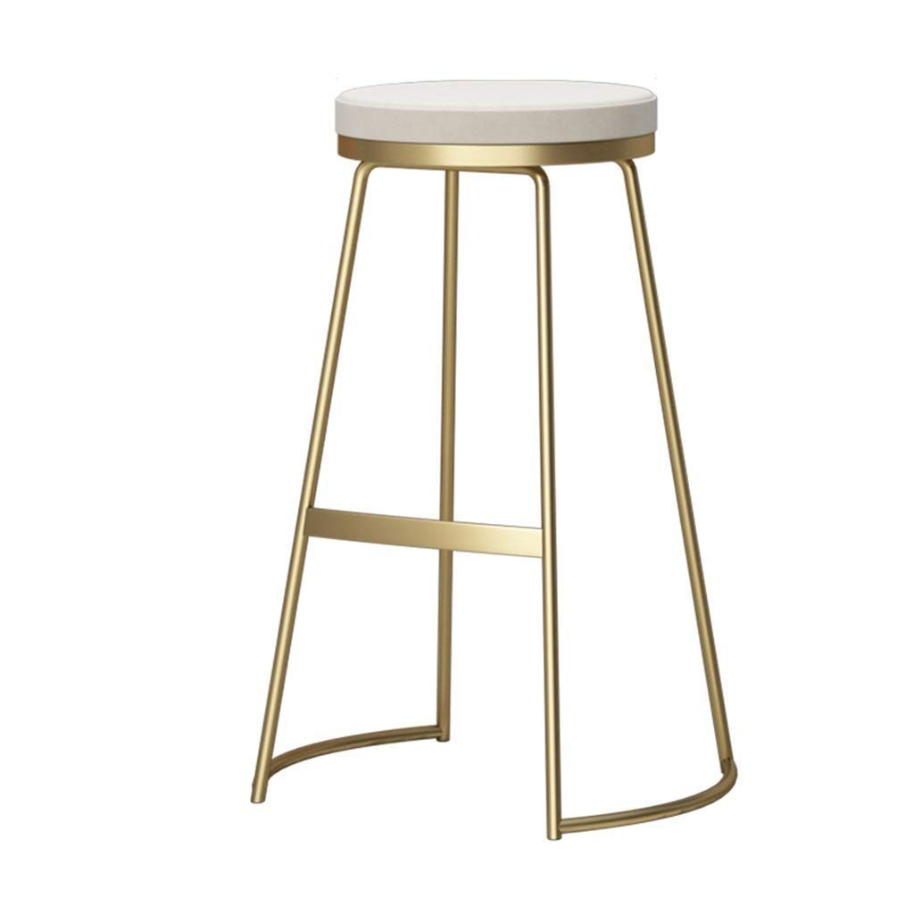 Chuan Han Nordic Style Metal Bar Stool Dining Chair Kitchen Breakfast Bar Counter High Chair High Kitchen White Iron Stools Iron Bar Stools Modern Bar Stools