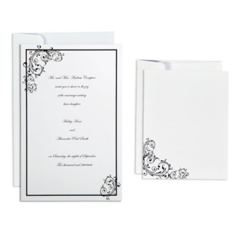 Black Scroll Printable Wedding Invitations Kit Party City Wedding Invitations Diy Wedding Invitation Kits Printable Wedding Invitations