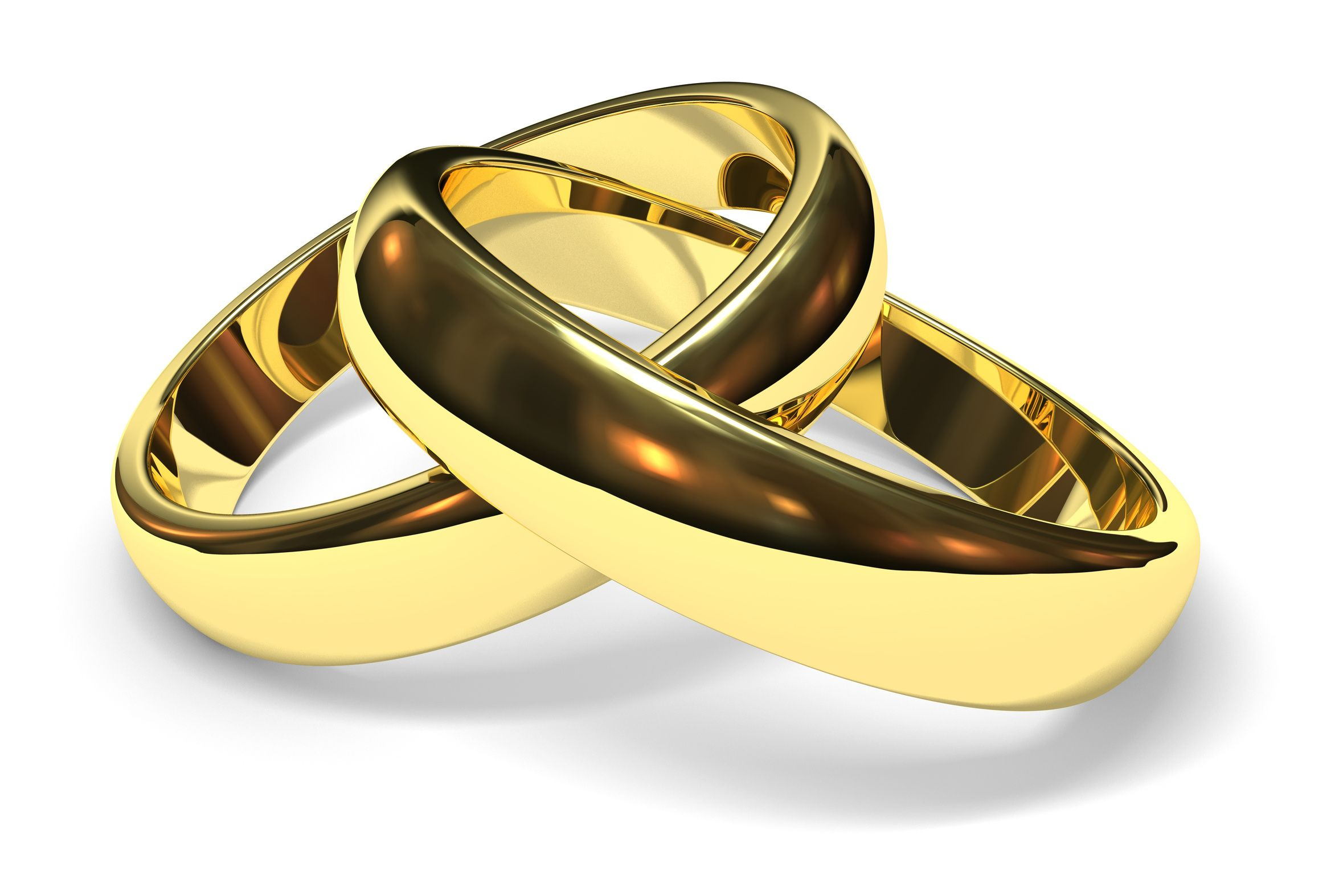 linked gold wedding rings on white background - Wedding Rings Gold