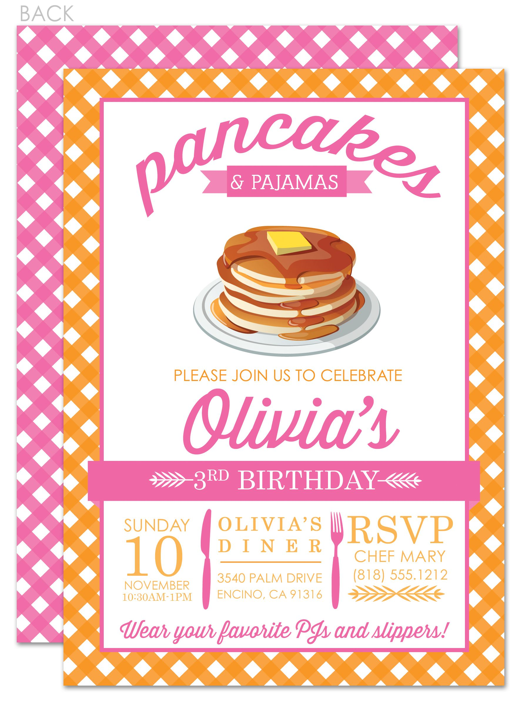pancakes and pajamas birthday invitation  pyjamas pancakes and