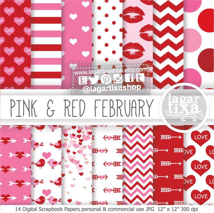 Valentine\'s day Digital Paper love Background hearts hot pink red ...