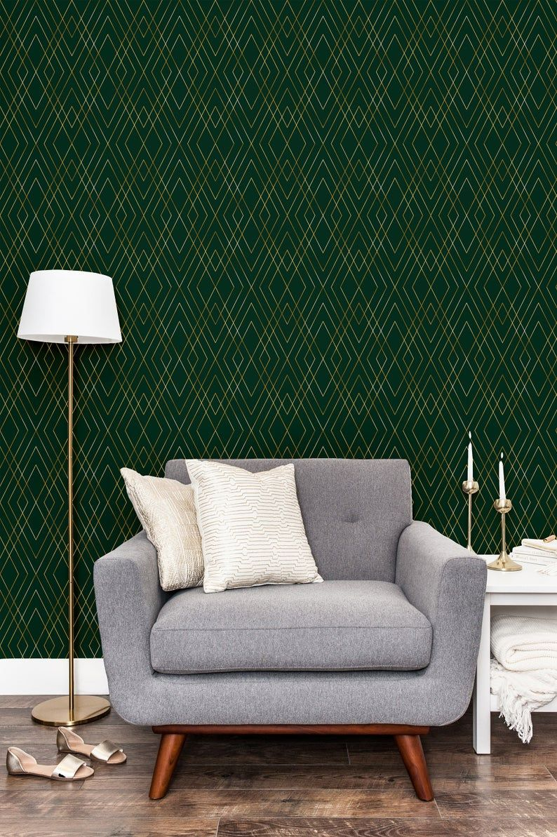 Green Gold Peel And Stick Wallpaper Self Adhesive Geometric Etsy Peel And Stick Wallpaper Stick On Wallpaper Wallpaper Accent Wall