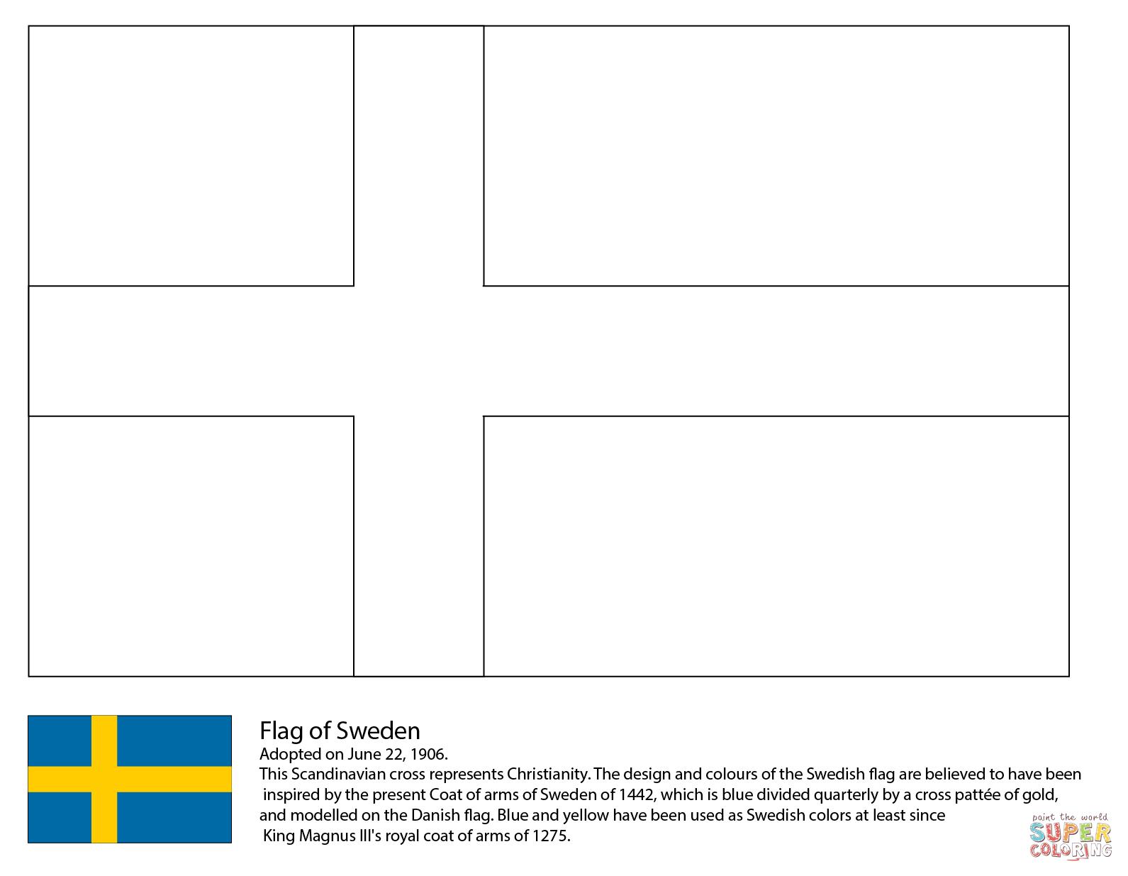 Sweden Flag Super Coloring Flag Coloring Pages Swedish Flag Sweden Flag