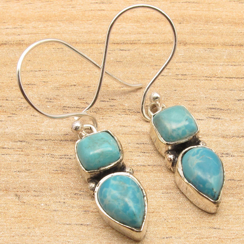 Beautiful LARIMAR Square & Stud 2 Gems Earrings ! Silver Plated ART Jewelry 3.6 cm