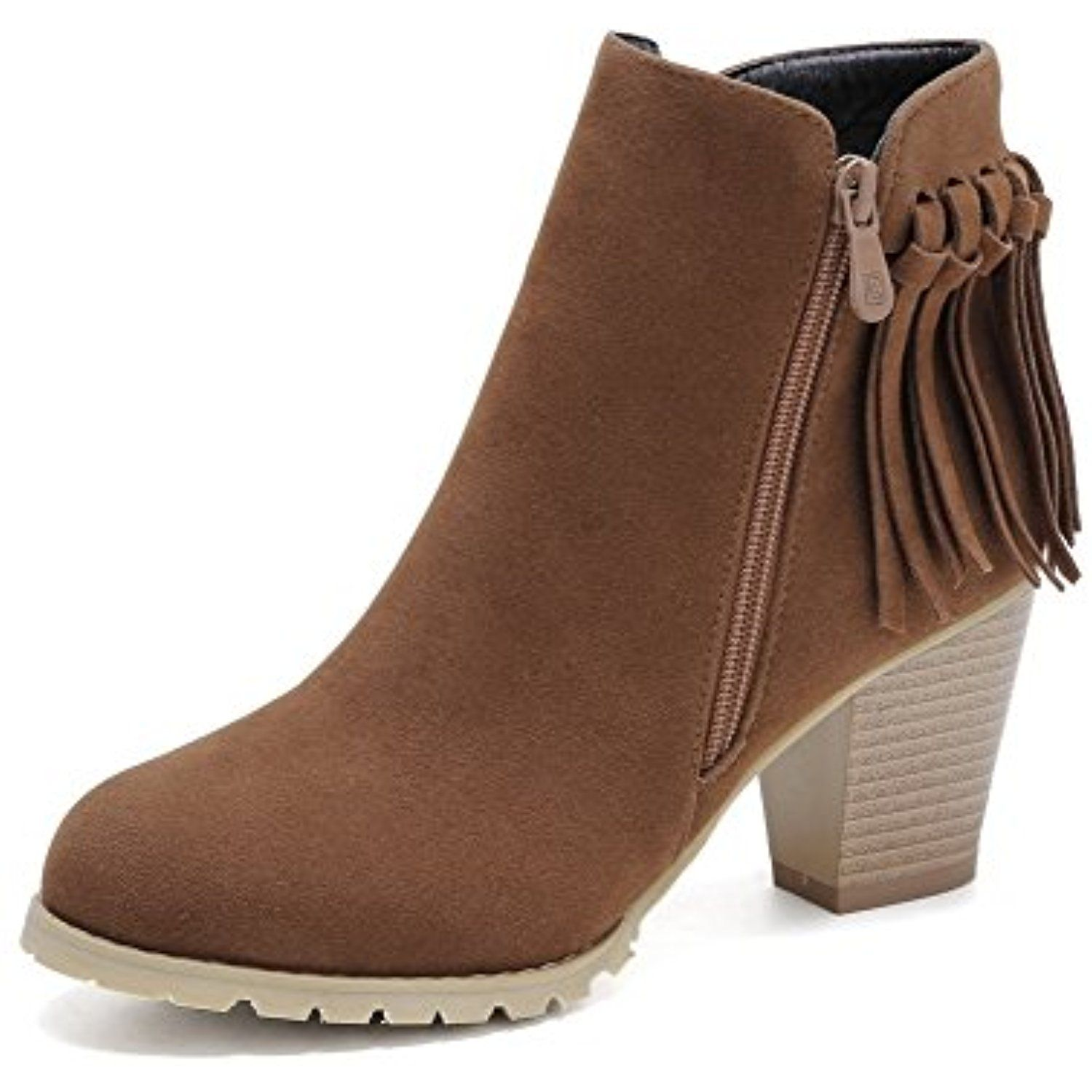 Women's Fringed Imitated Suede High Heels Zipper Round Closed Toe Boots