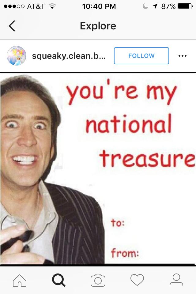 You Re My National Treasure Nicolas Cage Valentine Instagram