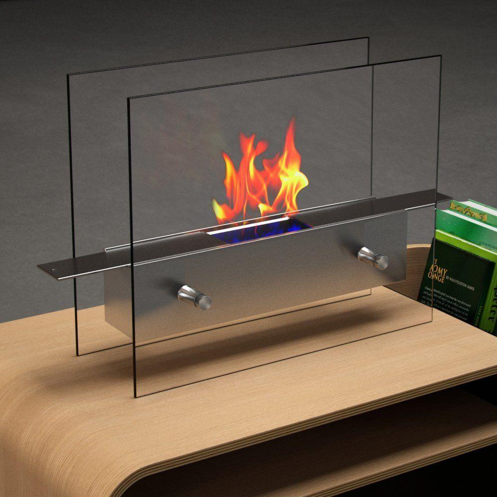 Modern Transparent Tabletop Fireplace.