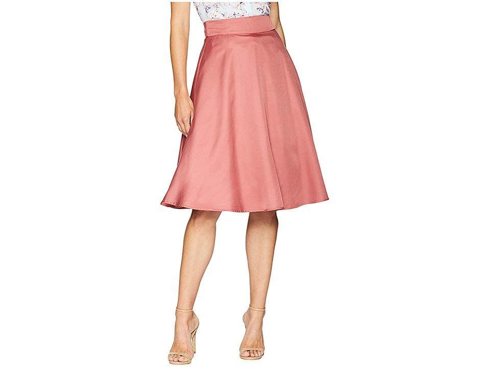 Unique Vintage High Waist Vivien Swing Skirt Dark Rose Womens Skirt Add some va va volume with the Vivien Swing Skirt Full swing skirt adds a touch of glamorous retro fla...