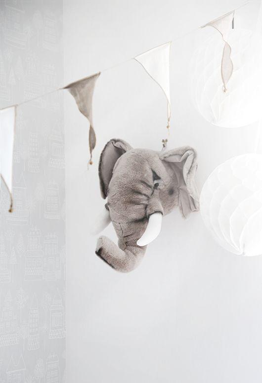 BIBIB - Elephant Trophy Soft Toy http://www.smallable.com/decorative-objects/37444-elephant-trophy-soft-toy.html