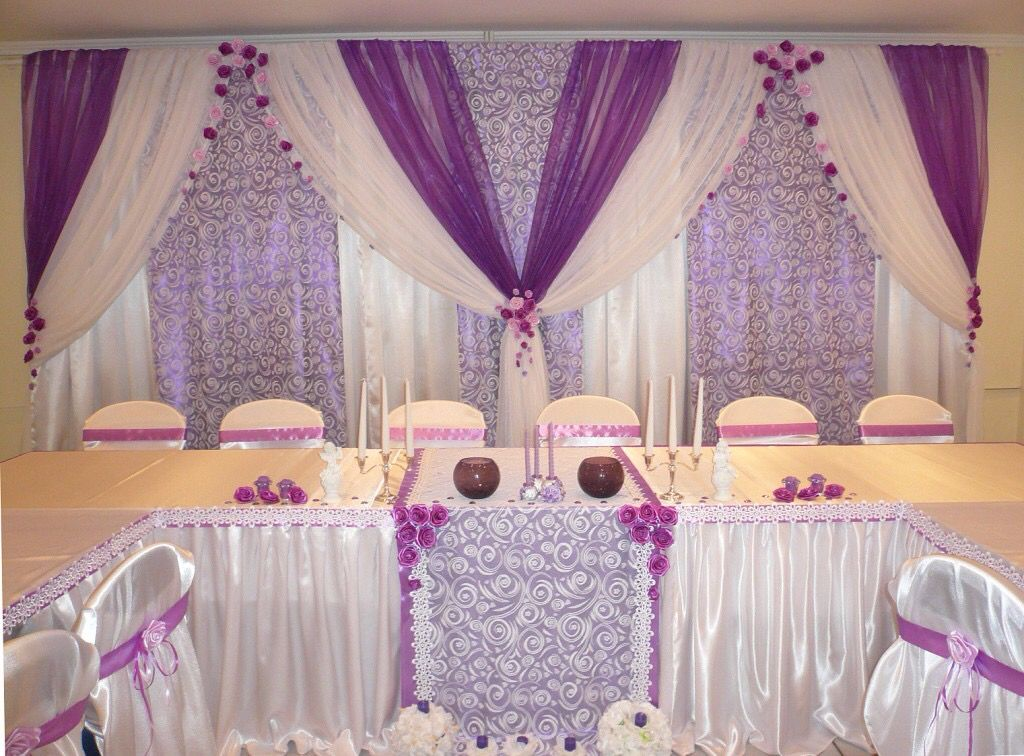 Purple Voile Over Lavender Patterned And White Drapes Backdrop