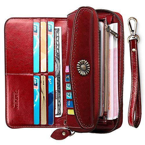 Damengeldbörse Portemonnaie Leder Geldtasche Geldbörse Viele Kartenfächer Etui