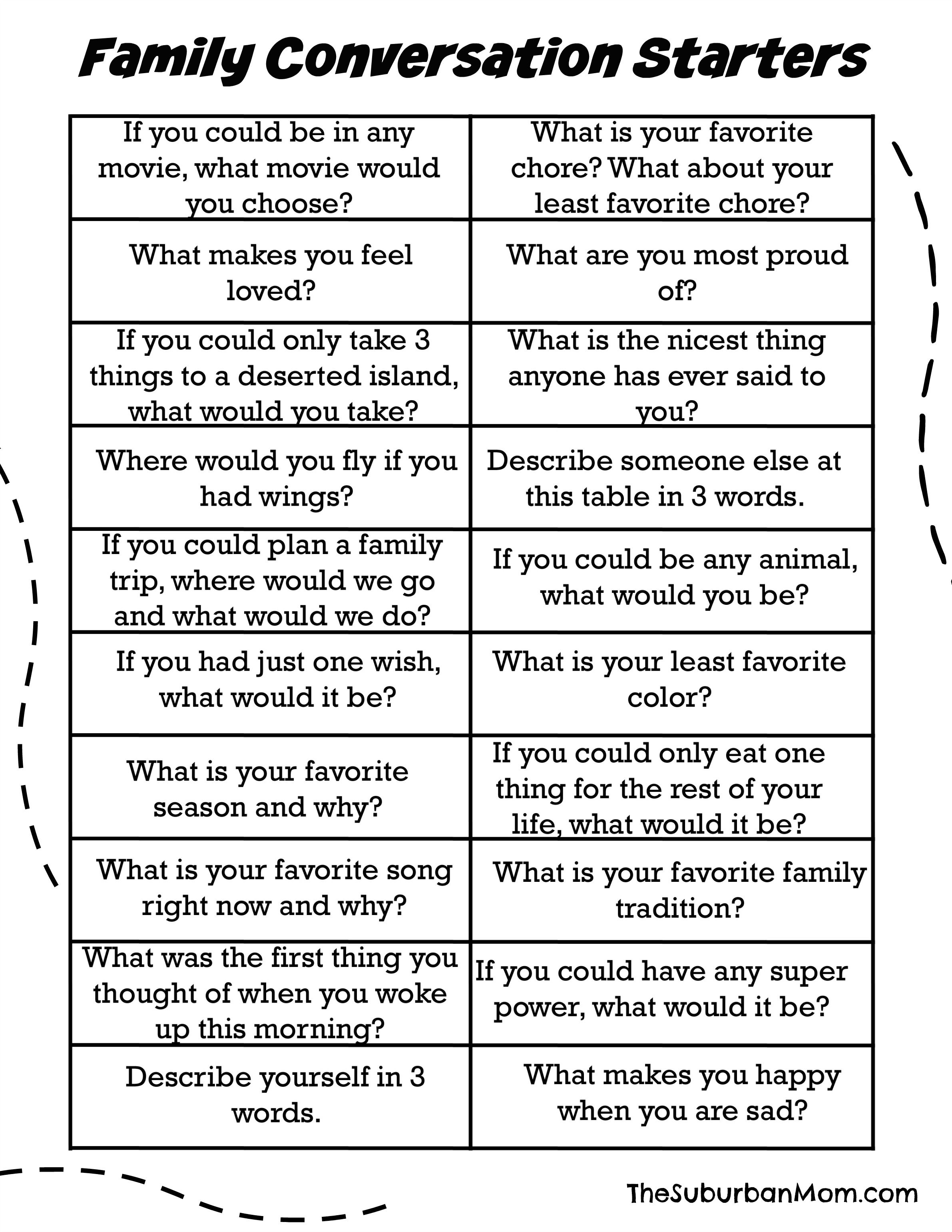 60 Family Conversation Starters (Free Printable) | Family ...