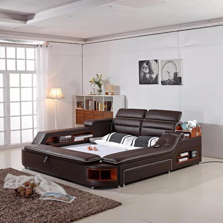Modern Discount Bedroom Furniture: Genuine Leather Bed For Bedroom Furniture In 2019