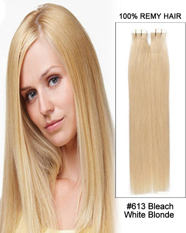 20 Tape In Blonde Straight Remy Hair Human Hair Extensions 613