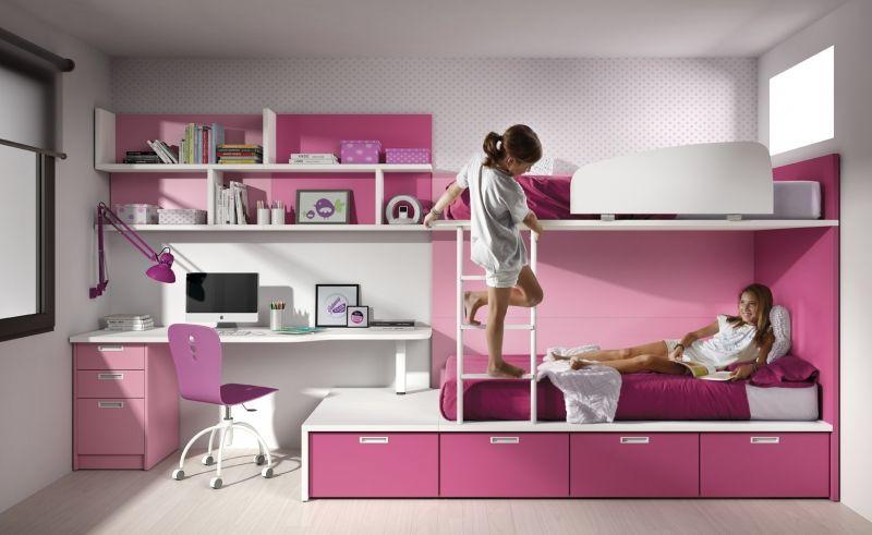 Dormitorio infantil para dos con cama tren y mesa estudio - Muebles tren infantil ...