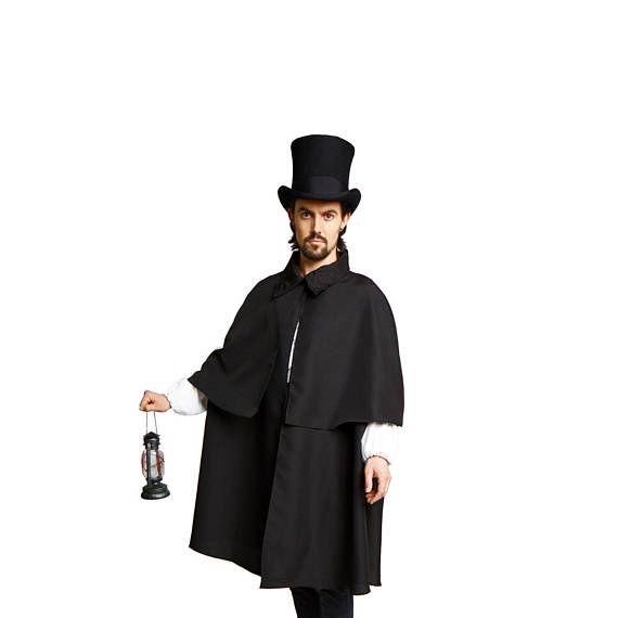 Black Victorian Steampunk Sherlock Holmes Dickens Costume Cloak Cape Inverness Standard XLARGE XXLAR