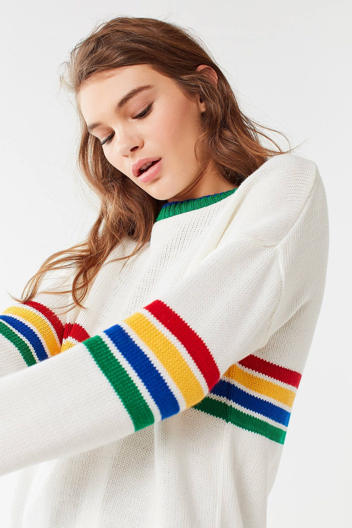 1d3ec55fd8 UO Bailey Rainbow Striped Sweater