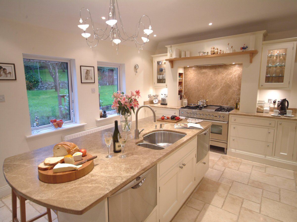Cream Kitchen Ideas With Wooden Flooring And Countertop Kitchen Tiles Design Modern Kitchen Kitchen Design