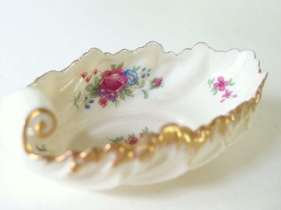 Vintage Candy Dish - Gold Rimmed Lenox Rose J300 Bonbon Dish ...