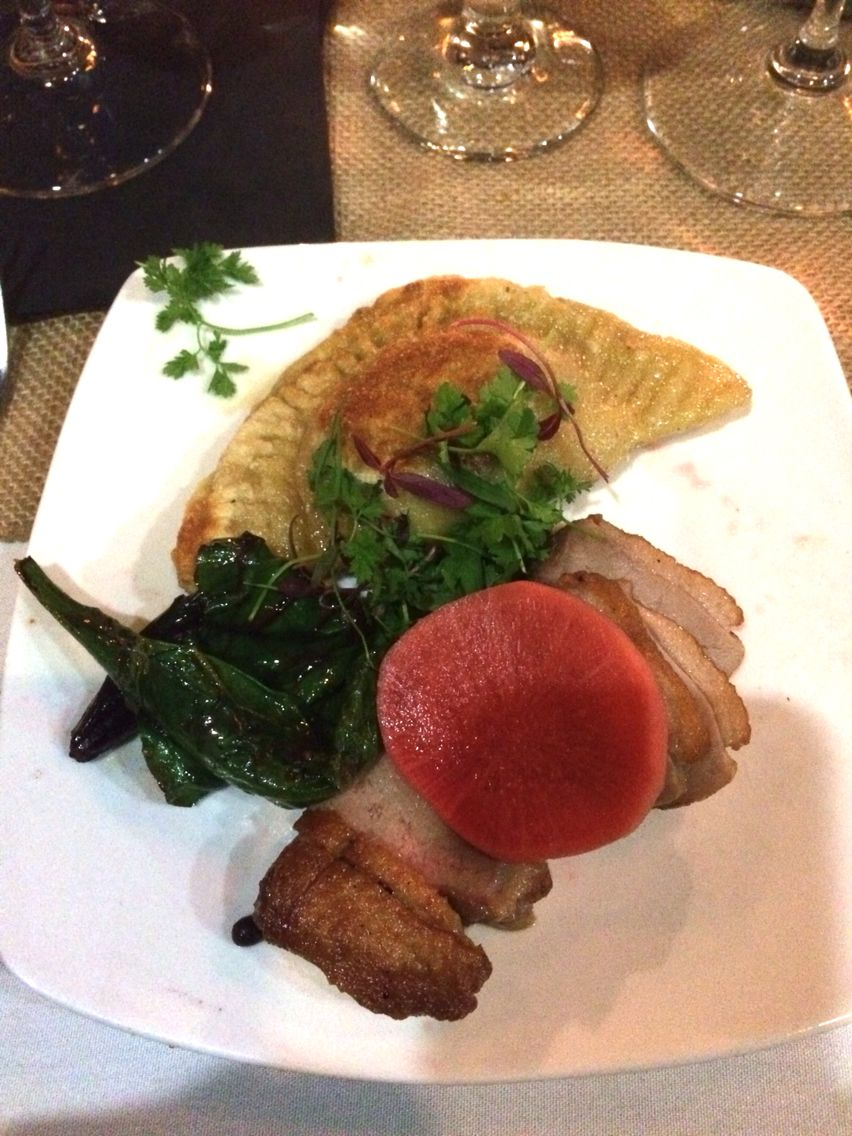 Duck breast, goat cheese pierogie, sweet & sour watermelon radish, braised beet greens.