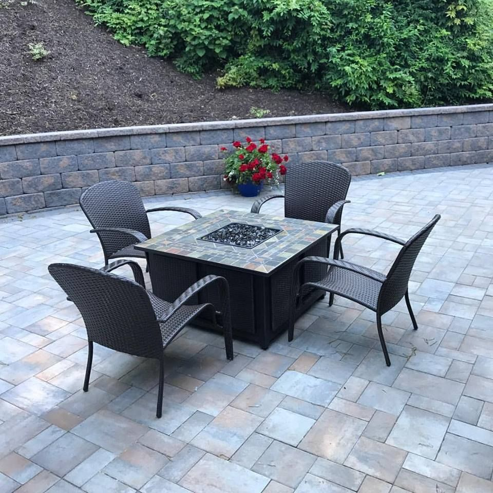 Recently completed patio and retaining wall in Cambridge Toffe Onyx ...