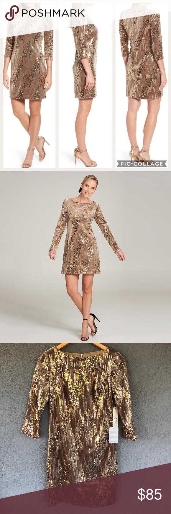 """e6ce2f83 Eliza J Sequin Embellished Velvet Sheath Dress Eliza J Embellished Sequin  Velvet Sheath Dress Party Holiday NYE Sz 6 NWT • size 6 • 17"""" underarm to  underarm ..."""