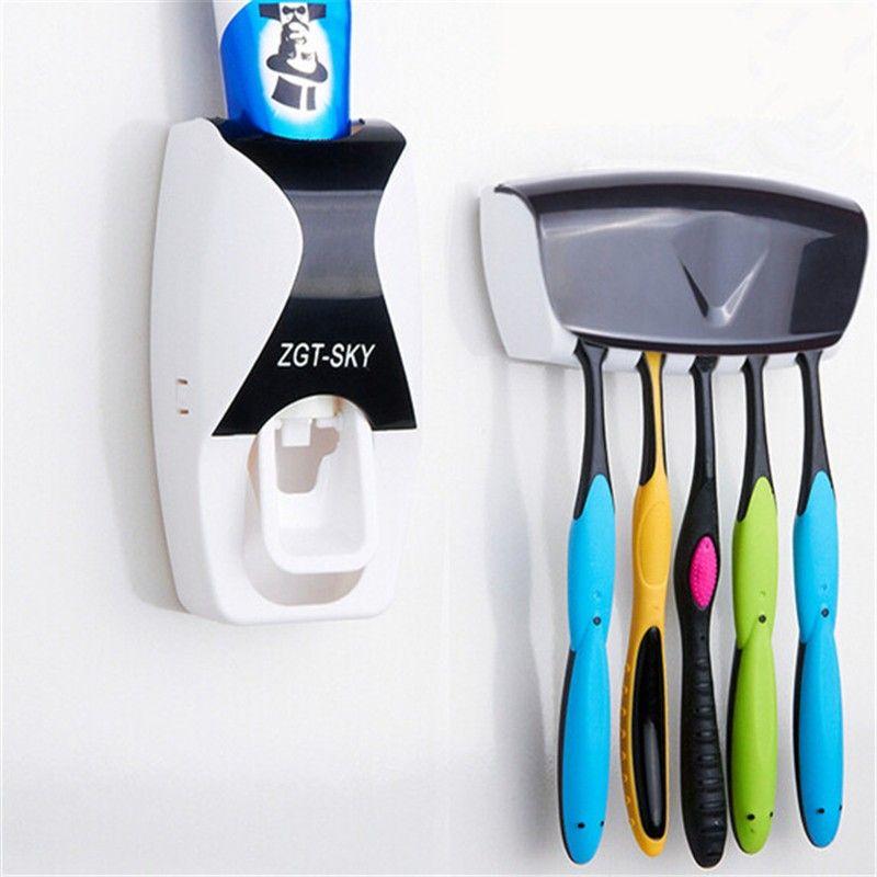 Und Weiseausgangs Bad Automatische Zahnpastaspender 5 Position Zahnbürstenhalter Badezimmer produkte Wandhalterung Rack Bad set