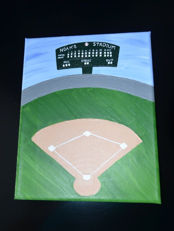 Personalized Baseball Field Nursery Or Kid Canvas Painting