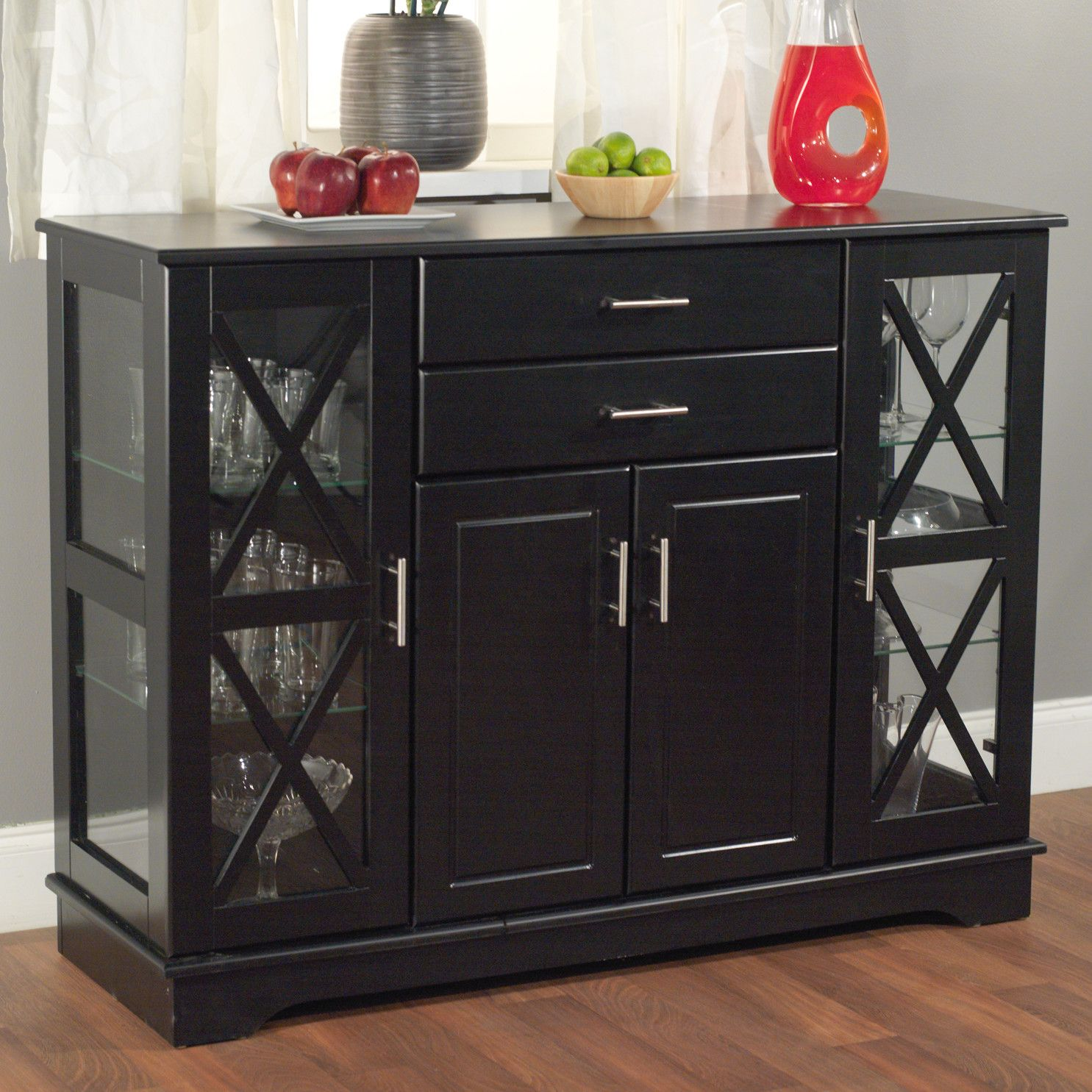 Black Wood Buffet Dining Room Sideboard With Glass Doors