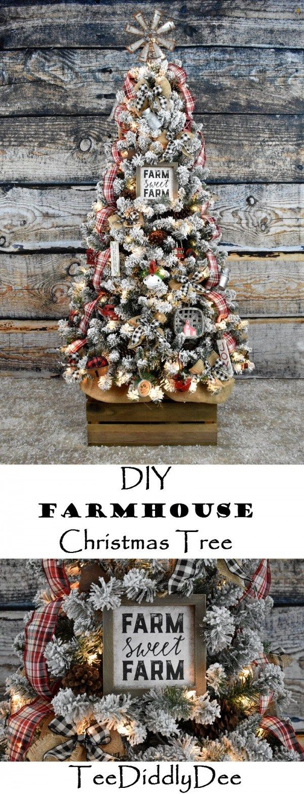DIY Farmhouse Christmas Tree Christmas tree decorations