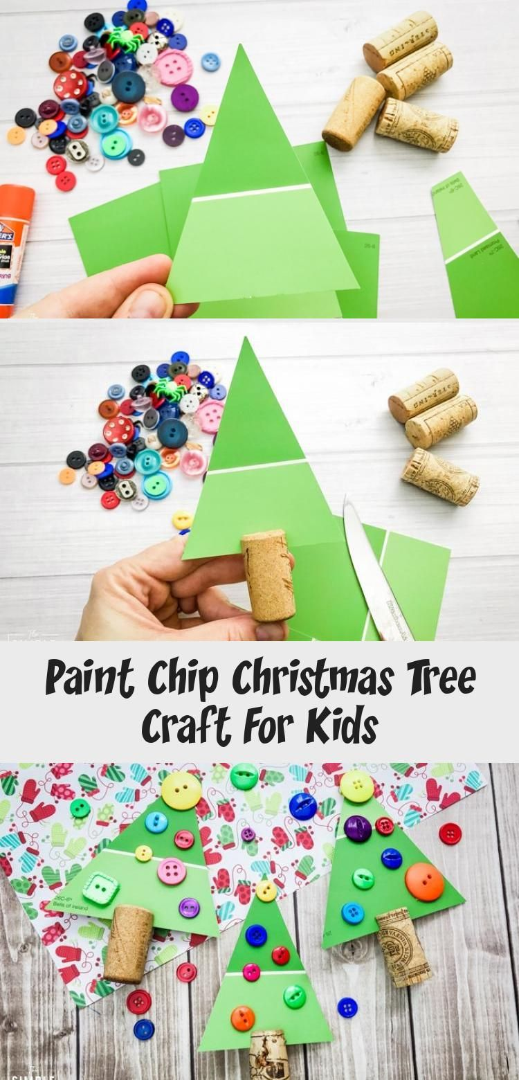 Paint Chip Christmas Tree craft that's great for kids of all ages! Toddlers and preschoolers can practice their fine motor skills. The whole family can get creative this holiday season. Perfect activity for winter break from school! #christmascrafts #christmastree #craftsforkids #winterkidscraftSchool #winterkidscraftIdeas #winterkidscraftEasy #winterkidscraftSnowman #winterkidscraftPreschool