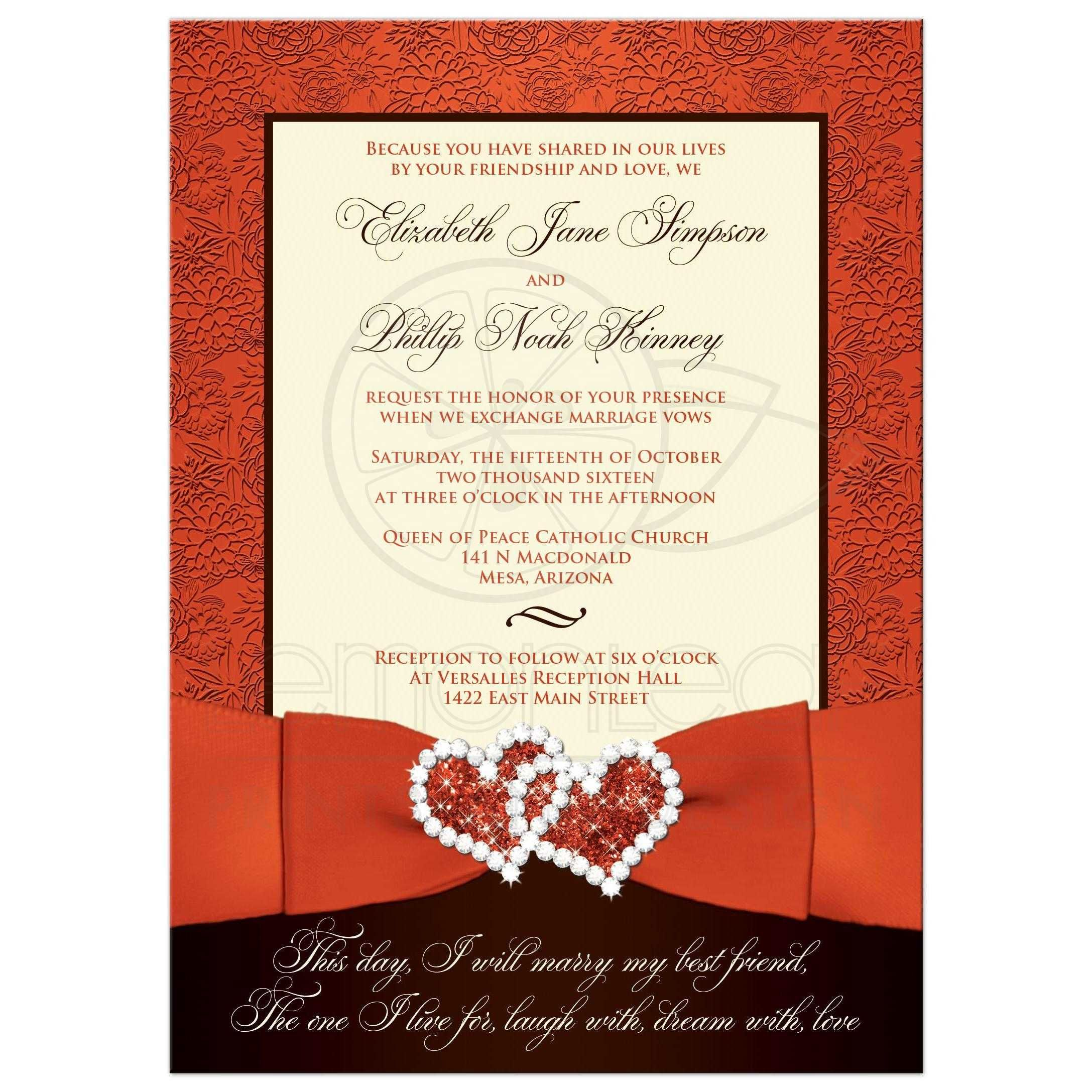 Romantic wedding invitation in orange, ivory and brown with ribbon ...