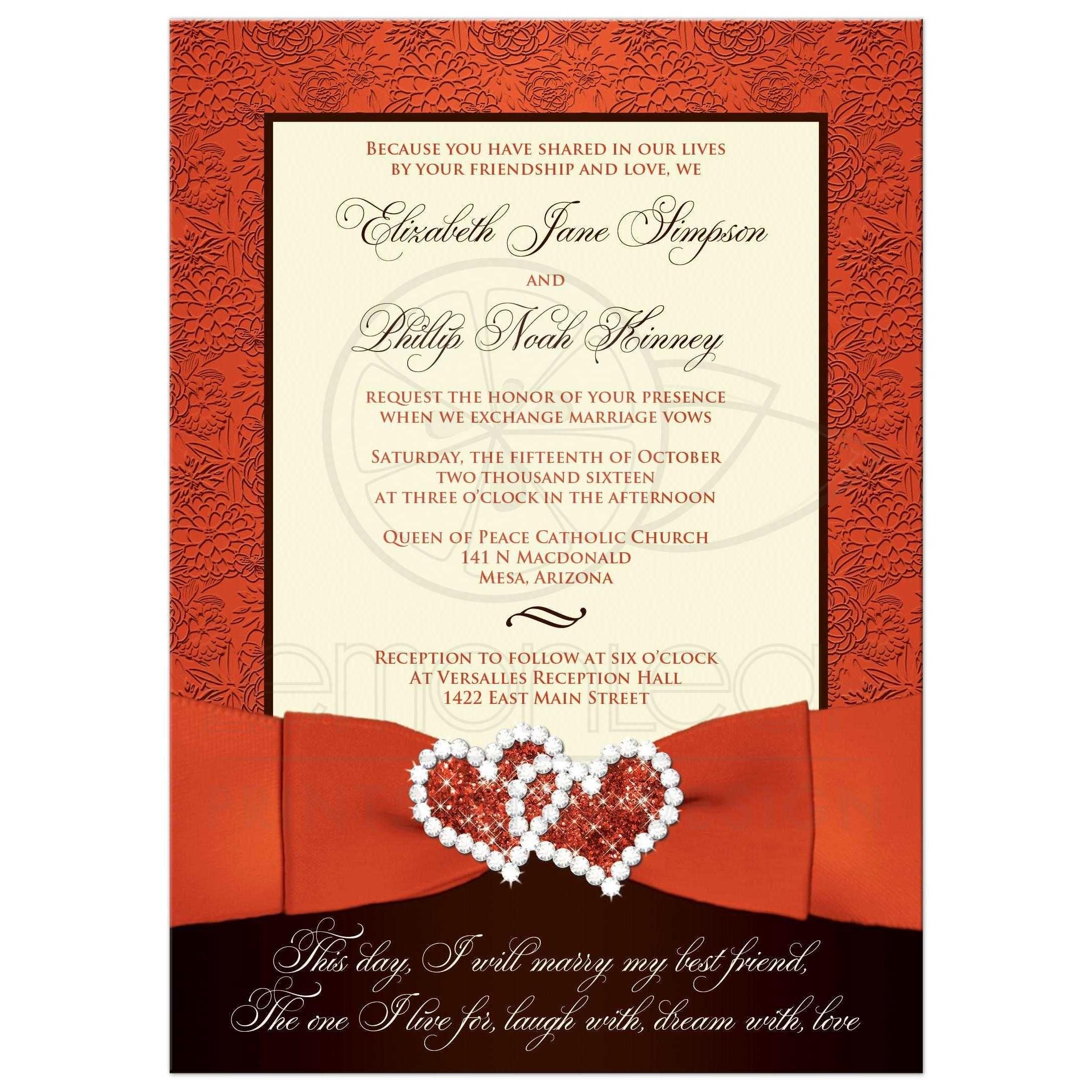 Enchanting Orange And Brown Wedding Invitations Sketch - Invitations ...