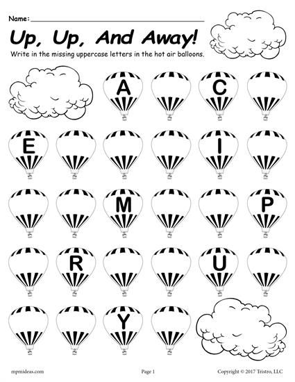 free printable uppercase alphabet worksheet fill in the missing letters hot air balloon theme. Black Bedroom Furniture Sets. Home Design Ideas