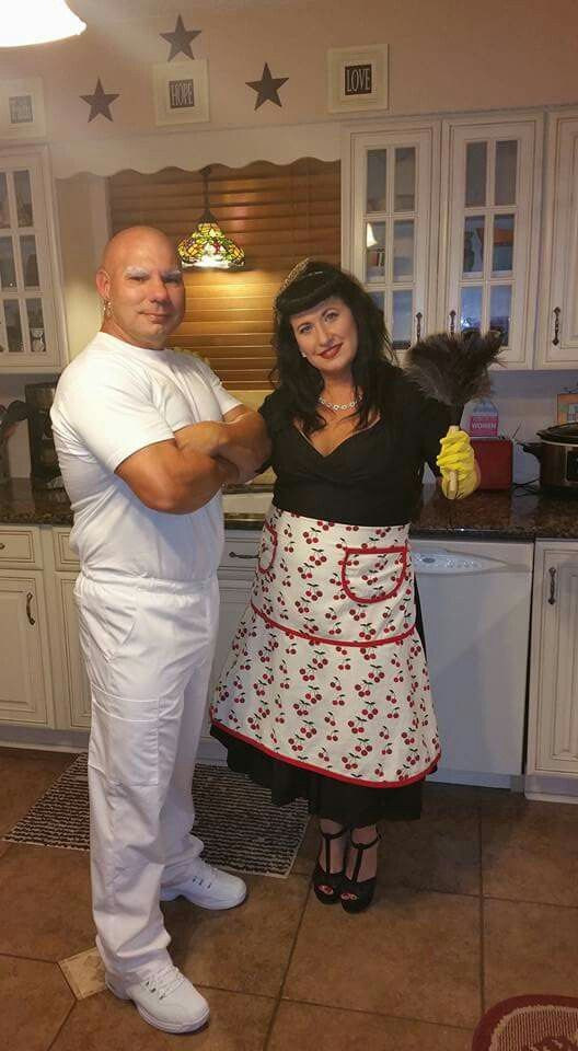 couples costume mr clean and 1950s housewife costumes