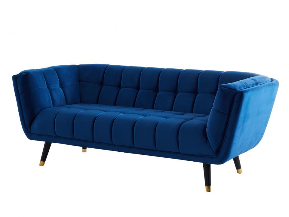 3 Sitzer Sofa Samt Samantha Dunkelblau Online Kaufen 3 Sitzer Sofa Sofa Sessel Mit Hocker