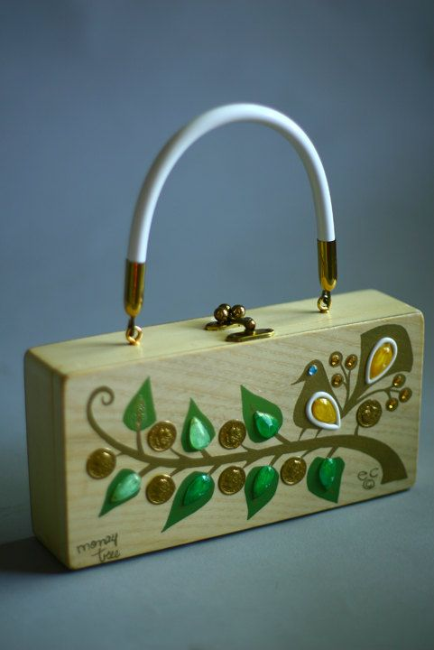 82d68cb197 Vintage Enid Collins Money Tree Bird Jeweled Wooden Purse...have this one  wish it was in this good shape