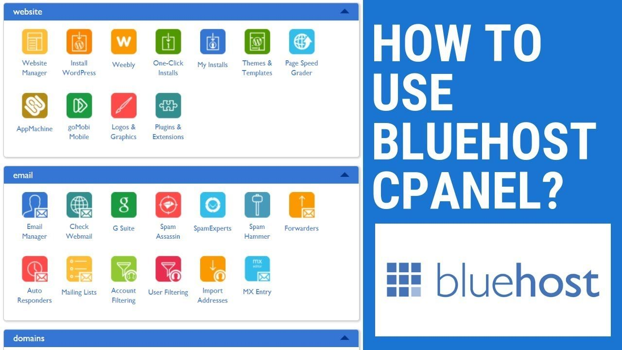 How To Use Bluehost cPanel and Dashboard Bluehost cPanel