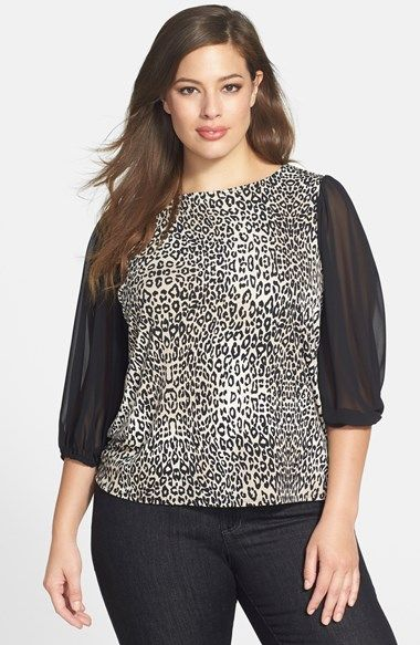 Vince Camuto 'Desert Leopard' Chiffon Sleeve Top (Plus Size) available at #Nordstrom