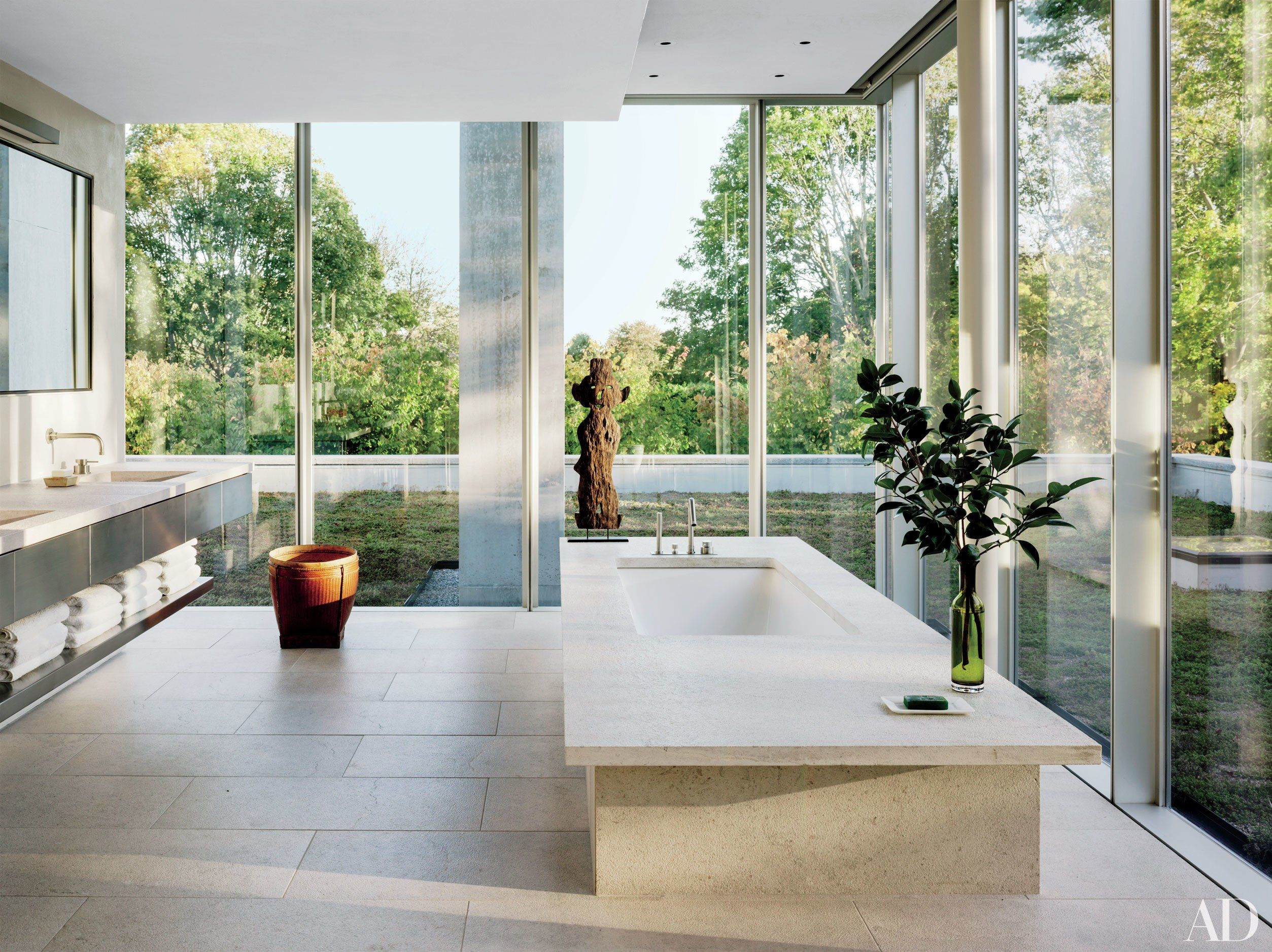 13 Gorgeous Minimalist Bathrooms Architectural Digest Minimalist Bathroom Bathtub Design