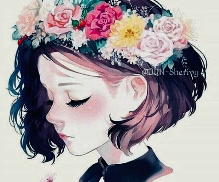 Girl Flowers Kid Colored Digital Drawing Anime Art Girl