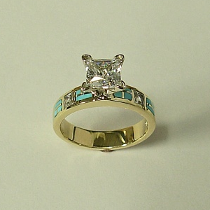 14 Karat Yellow Gold Engagement Ring With Diamond And Natural Turquoise Inlay My Friend Would Ringsturquoise Wedding