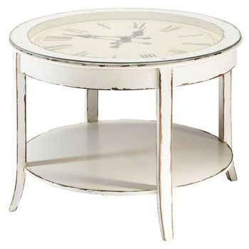 Table Basse Ronde Horloge En Verre Et Bois Blanc Vieilli D  Cm Teatime
