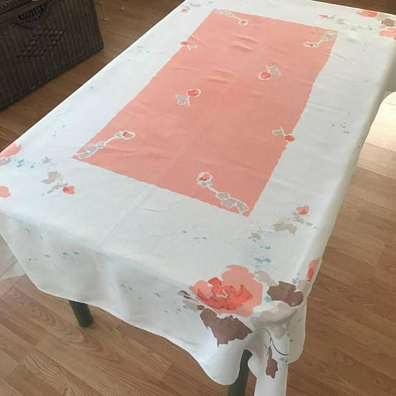 Vintage Linen Tablecloth Retro Coral Colored Flowered